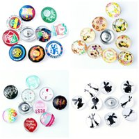 Wholesale Metal For Earings - 18mm Snap On Charms for Bracelet Necklace earings Findings Glass Snap Buttons Jewelry NOOSA Button fit DIY E293J
