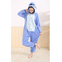 Wholesale Cosplay Pajamas Costume - Wholesale-All in One Flannel Anime Pijama Cartoon Cosplay Warm Easy for Bathroom Adult Unisex Homewear Cute Onesies Animal Pajamas Stich