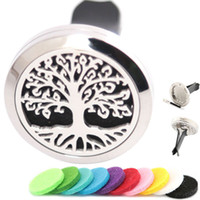 Wholesale Perfume Life - Trees of Life Aromatherapy Essential Oil surgical 30mm Stainless Steel Pendant Perfume Diffuser Car Locket Include 50pcs Felt Pads