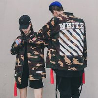 Wholesale Womens Fashion Military Jacket - Off White High Quality Mens Womens Justin Bieber Camouflage Girls Boys Jacket Kanye West Fashion Military Camo Off White Jackets And Coats