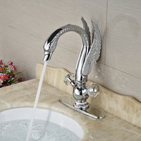 Wholesale chrome hole covers resale online - Swan Shaped Two Crystal with inches Hole Cover Handle Basin Countertop Faucet Chrome Polished Deck Mounted
