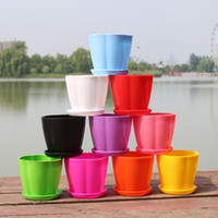 Wholesale Desktop Shapes - Simple Mini Garden Pots Petal Shape Plastic PP Planters With Pallet For Home Decoration Flowerpot Candy Color 0 46xy B