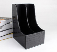 Wholesale Magazine Book Boxes - Wholesale-2-slot curve wood leather desk file book box magazine self holder document filing organizer case croco black 223A