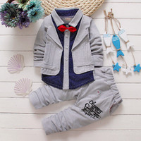 Wholesale Coat Bow Tie - New 2016 Fashion Baby Boy Suit Set Children's Clothing Set Handsome Male Kids Bow Tie Long-sleeve Shirts Coat+Trousers Sets Boys Clothes