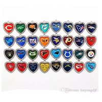 Wholesale Crystal Football Necklace - 32PCS Mix 32 Designs Football Sport Crystal Hearts Dangle Hanging Charms DIY Bracelet Necklace Jewelry Accessory Football Sports Charms