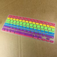 Wholesale Macbook Pro Pc Keyboard - Wholesale-Free Shipping 5 PCS Rainbow Silicone Keyboard Cover Protector Skin US Version For Apple Macbook Pro MAC 13 Inch