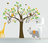 Wholesale Monkey Wall Quotes - Free shipping Monkey elephant owl giraffe tree Quote Wall Stickers Vinyl Decor Kids Nursery