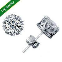 Wholesale Ear Ring Pendants - Genuine 925 Sterling Silver Full Crystal Crown Shape Ear Stud Earrings Ear Ring Pendant With beautiful Wedding Engagement Jewelry gift