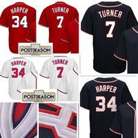Wholesale Cheap High Top Shorts - Top sales Men's #34 Bryce Harper 7 Trea Turner Jersey High quality Cheap Baseball Jerseys wholesale Free Shipping