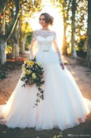 Wholesale Wedding Dresses Sleeve Pregnant - 2016 Romantic A Line Wedding Dresses Long Sleeves Sheer Jewel Neck Backless Bow Pregnant Maternity Bridal Gowns With Beaded Sash BA1644