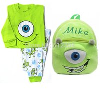Wholesale Pajama Years - Wholesale-100% cotton boys Mike Pajama Sets with Mike Cartoon Backpack Boys Clothing Sets Baby Sleepwear clothes for 2-7 years