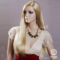 Wholesale blonde color wig for girl elegant long straight oblique bang quot Synthetic Wig A3401
