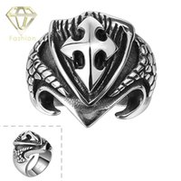 Wholesale Ancient Sword - Dragon Scale Cross Sword Ring Real Men Necessary Ancient Mayan Mystery Squama Cross Sword and Shield 316L Stainless Steel Ring