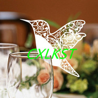 Wholesale Wedding Name Place Hummingbird Cards For Wine Glass Laser Cut Pearlescent Card Good Quality Brand New