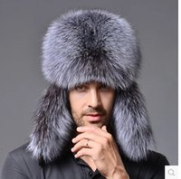 Wholesale Genuine Fur Bomber Hats - Wholesale-Star Fur 2015 Genuine Silver Fox Fur Hats Men Real Raccoon Fur Lei Feng Cap for Russian Men Bomber Hats with Leather Tops