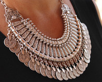Wholesale Choker Bib Necklace - Gypsy Bohemian Beachy Chic Coin Statement Necklace Boho Festival Silver Fringe Bib Coin Ethnic Turkish India Tribal