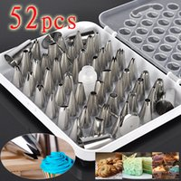 Wholesale Sugarcraft Decorating Tips - 52pcs Lot New Arrival Icing Piping Nozzles Pastry Tips Fondant cake Sugarcraft Cake Decorating Tool Sets Set kitchen