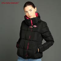 Wholesale parka crystal - Wholesale-ChuSaubeauty Parkas 2017 Women Slim female Hit color winter jacket women Design Crystal buckle coat women's jacket Winter