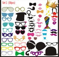 fotoğraf sopası dudakları gözlükleri toptan satış-58 adet / takım Düğün Centerpieces Photo Booth Dikmeler Gözlük Bıyık Dudak Bir Sopa Parti Komik Favor Malzemeleri Ücretsiz Kargo
