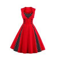 18bac9648fb 50-х 60-х годов старинные ретро женщины платье без рукавов горошек партия  Vestido элегантный лоскутное Красный линия большой плюс размер 5XL