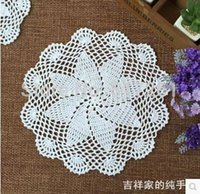 Wholesale Knitting Doily - free shipping fashion 12 pics lot 20cm round cotton knitted doilies potholder for table decoration place mat coaster table pads