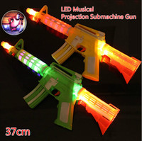 Wholesale Kids Submachine Gun - Free EMS 30pcs 37cm LED Flash Glow Musical Projection Submachine Gun Projector Costume Dress Up Props Kids Toy Christmas Gift