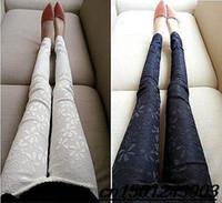 Wholesale Plus Size Floral Leggings - New 2014 Women Lace Crochet Leggings Casual Ladies Stretch Embroidered Pencil Pants Plus Size