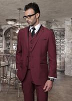 Wholesale Wool Mens Pants Cheap - Custom made 2015 Hot Sale Burgundy men wedding suits Peak Lapel Cheap (Jacket+Pant+Tie+Vest) mens tuxedos for wedding Groomsmen suits