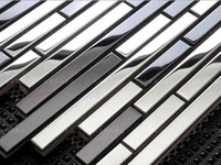 Wholesale Metal Backsplash Tile - Home decoration Metal mosaic tiles stainless steel mosaic tiles wall cladding TV background backsplash bathroom wall decor tile