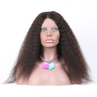 Wholesale Wholesale Deep Wave Wig - 6A Full Lace Human Hair Wigs 100% Brazilian Remy Hair Afro Kinky Curly front lace wigs wavy natural color with baby hair