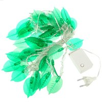 Wholesale Leaves String Lights - Wholesale-New Arrival Leaves Shape Green 50 LED String Light   Decorative Led Light Length: 5M for Garden Holiday Decoration