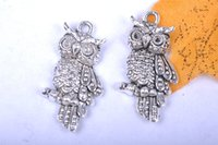 Wholesale Diy Earring Connectors - 200pieces 24mm 3D Owl Lover Gift Pendant Charms 7053 Beads Clasp Connector Plated Silver DIY Jewelry Necklace infinity Bracelets Earring