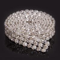 perlas para coser al por mayor-Nuevo MIC 1 Yarda 3 Filas Clear Crystal Rhinestone Ribbon Diamond Pearl Wraps Costura artesanal Cake Dec Suministros de la boda
