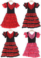 Wholesale Tutu Materials - Baby Girls Dress Polyester Material Baby Girl flamenco Dresses Three Color and High Quality Spanish flamenco dance dress PT004