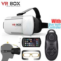 Wholesale Andriod Cases - VR BOX Professional Google andriod Cardboard Original Virtual Reality Head mounted 3D Glasses Case Phone + Bluetooth Controller Gamepad DHL