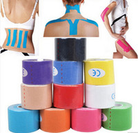 Wholesale Adhesive Elastic Bandage - New Arrive 5cm x 5m NEW Kinesiology Kinesio Roll Cotton Elastic Adhesive Muscle Sports Tape Bandage Physio Strain Injury Support