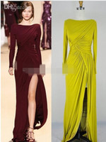 Wholesale Fashion Line Jerseys - Elie Saab New Sexy Long Sleeves Burgundy Jersey Ruffles Split Floor Length Evening Dresses arabic dresses charms bridesmaid dresses