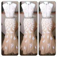 Wholesale lilac bridesmaid dress straps ruffle - White Lace With Nude Prom Dress 2016 New Sexy High Neckline Cheap Evening Dress Formal Party Bridesmaid Gowns