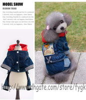 Wholesale Pet Sweaters Legs - Red hat Autumn and winter pet four foot jeans \ dog pet clothes \ Pet legs clothes \ jeans fall and winter clothes