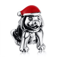 Wholesale Pandora Hat - Wholesale 925 Sterling Silver Christmas Sled Dog & Hats European Charms Silver Beads Fit Pandora Snake Chain Bracelets Fashion DIY Jewelry