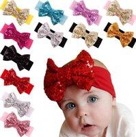ingrosso neonata cute headwrap-Baby bowknot Fasce Ragazze Cute Bow Fascia per capelli Infantile Lovely Headwrap Bowknot Accessori elastici Paillettes Bow Fascia per capelli KKA3184