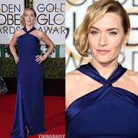 2016 73 ° Golden Globe Awards Vestiti da sposa Kate Winslet Royal Blue Halter Scollo Satin abito da sera Mermaid Satin