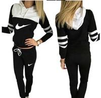 Wholesale Womens Sweatshirts Xl Zipper - Womens Tracksuit Set 2016 Lady V Neck Long Sleeve Sweatshirt Tops Pants Suit Casual 2 piece Set women sweat suits PINK sweatsuit