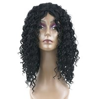 Hanzi_beauty Medium Deep Wave Hairstyle Cabelo sintético Black to Brown Perucas Party Hair Cosplay Peruca para Black Women Hairpiece