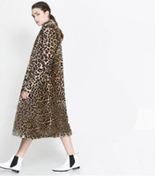 Wholesale Leopard Fur Coat Rabbit - Wholesale-Hot sell 2015 new women winter faux fur jacket European and American fashion long section leopard color warm rabbit fur coats