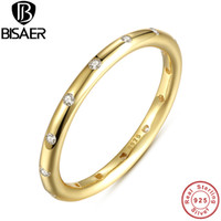 Wholesale gold stackable ring set - Wholesale- 925 Sterling Silver Droplets Stackable Ring, Polished Gold & CZ Original Jewelry WEU7141