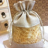 """Wholesale Promotional Bags Plastic - New Jute Clear Gift Bags 15x22cm(6""""x8.5"""") Burlap Organza Fabric Drawstring Promotional Pouches"""