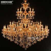 Wholesale Luminaire Cristal - Large Royal Golden Crystal Chandelier Lamp Lustres Cristal Suspension Project Lighting Hotel Resteruant Villa Luminaire Lights