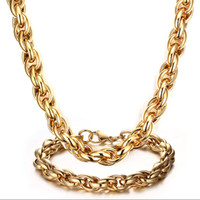 Wholesale popular gold chain styles - Huge Men s Party Style Heavy Popular Jewelry stainless steel Charming High Quality k Gold Rope Link Chain necklace bracelet Jewelry Set