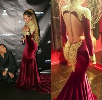 Wholesale Vestidos Arabic Burgendy Velvet Celebrity Evening Dresses Sexy High Neck Long Sleeves Backless Gold Appliques Beaded Glitz Prom Gowns